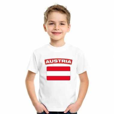 Oostenrijkse vlag kinder shirt wit