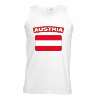 Oostenrijkse vlag singlet wit heren