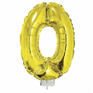 Opblaas cijfer 0 folie ballon goud 41 cm