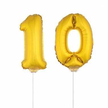 Opblaas cijfer 10 folie ballon 41 cm