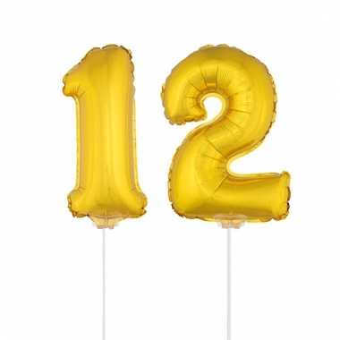 Opblaas cijfer 12 folie ballon 41 cm