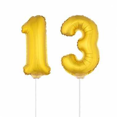 Opblaas cijfer 13 folie ballon 41 cm