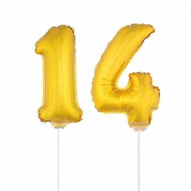 Opblaas cijfer 14 folie ballon 41 cm