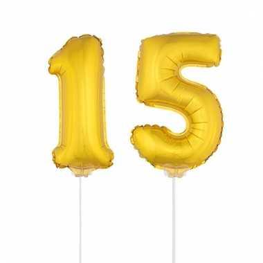 Opblaas cijfer 15 folie ballon 41 cm
