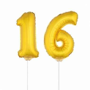 Opblaas cijfer 16 folie ballon 41 cm