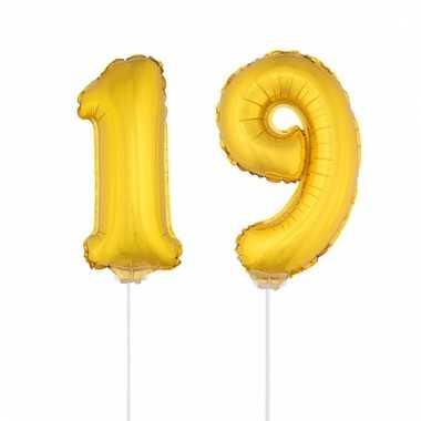 Opblaas cijfer 19 folie ballon 41 cm