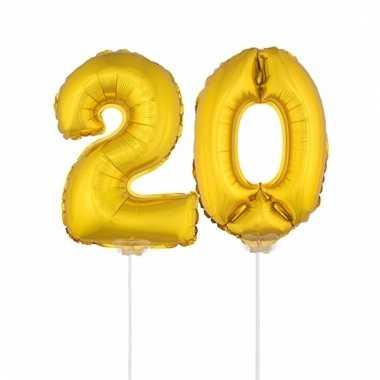 Opblaas cijfer 20 folie ballon 41 cm