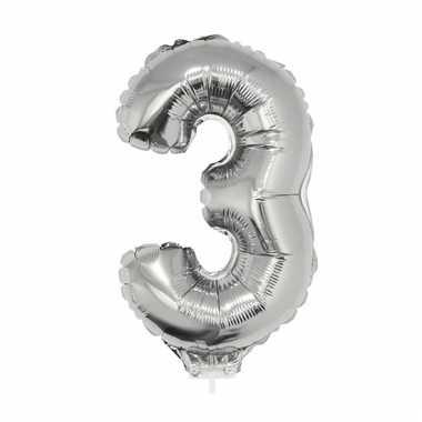 Opblaas cijfer 3 folie ballon 41 cm
