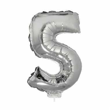 Opblaas cijfer 5 folie ballon 41 cm