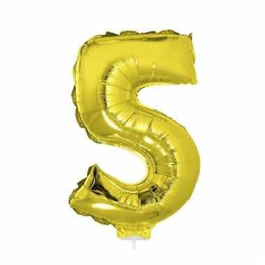 Opblaas cijfer 5 folie ballon goud 41 cm