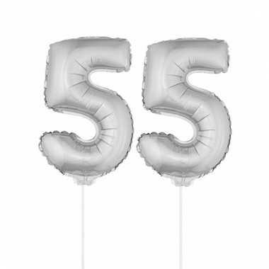Opblaas cijfer 55 folie ballon 41 cm