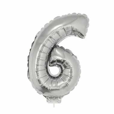 Opblaas cijfer 6 folie ballon 41 cm