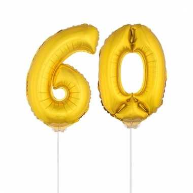 Opblaas cijfer 60 folie ballon 41 cm
