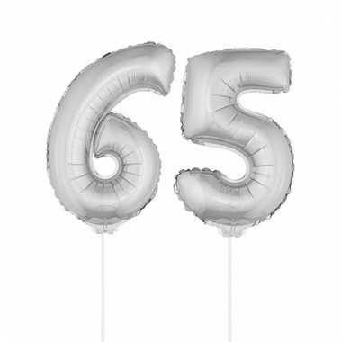 Opblaas cijfer 65 folie ballon 41 cm