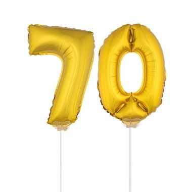 Opblaas cijfer 70 folie ballon 41 cm