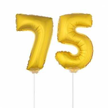 Opblaas cijfer 75 folie ballon 41 cm