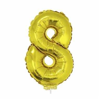 Opblaas cijfer 8 folie ballon goud 41 cm