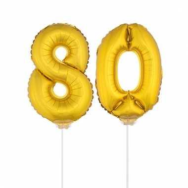 Opblaas cijfer 80 folie ballon 41 cm