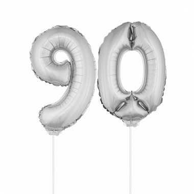 Opblaas cijfer 90 folie ballon 41 cm