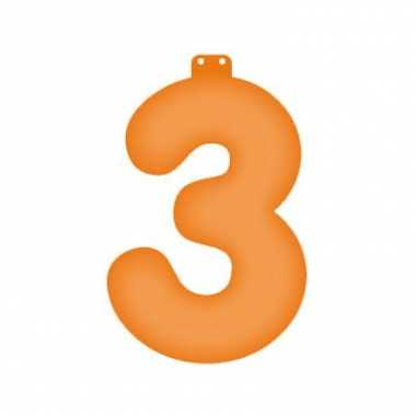 Opblaasbare getal 3 oranje