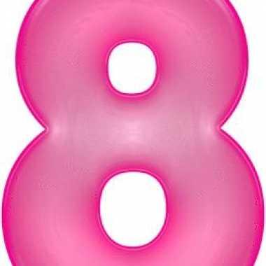 Opblaasbare getal 8 roze