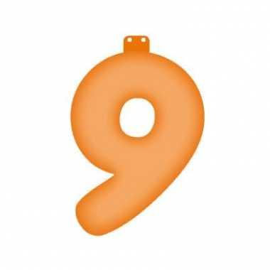 Opblaasbare getal 9 oranje