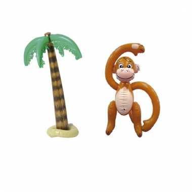 Opblaasbare palmboom 90 cm met aap 61 cm