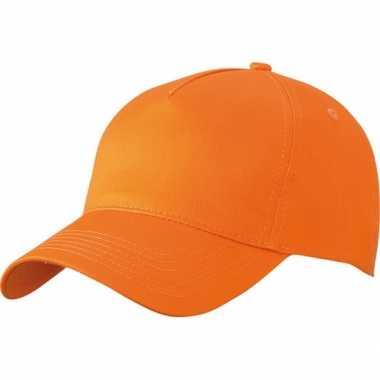 Oranje 5 panel baseball petje van katoen