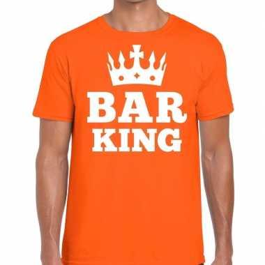 Oranje bar king met kroontje t-shirt heren