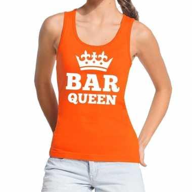 Oranje bar queen tanktop / mouwloos shirt dames