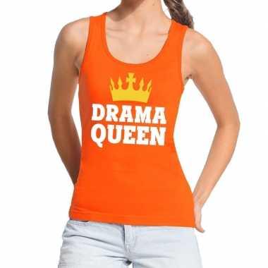 Oranje drama queen tanktop / mouwloos shirt voor dames