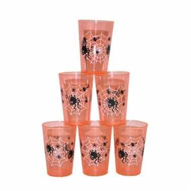 Oranje drinkbekers halloween 6 stuks