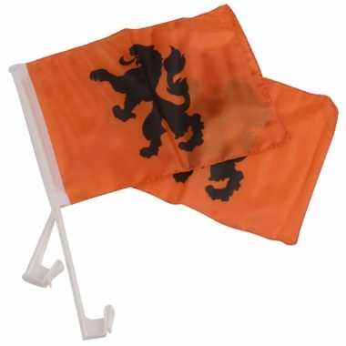 Oranje feestartikelen autovlaggen knvb 20 x 30 cm