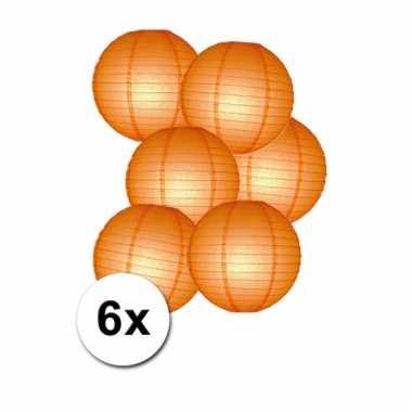 Oranje feestversiering lampionnen 6 stuks