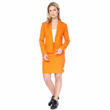 Oranje getailleerd mantelpak voor dames