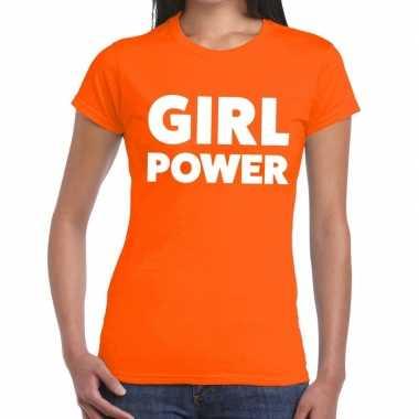 Oranje girl power t-shirt voor dames