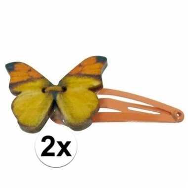 Oranje haarspeldjes houten vlinder