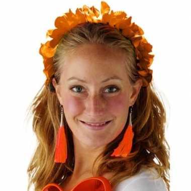 Oranje hawaiikrans verkleed tiara/hoofdband voor dames