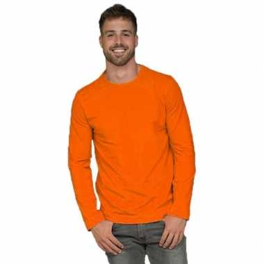 Oranje heren shirt lange mouwen