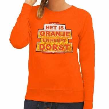 Oranje het is oranje en heeft dorst sweater dames