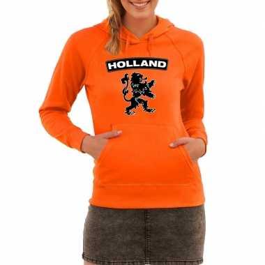 Oranje holland hoodie met zwarte leeuw dames