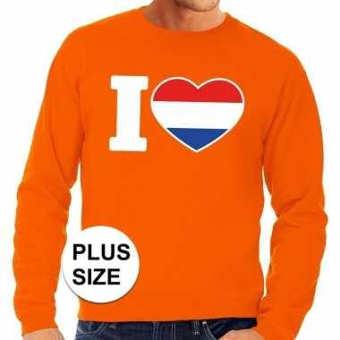 Oranje i love holland grote maten sweater / trui heren