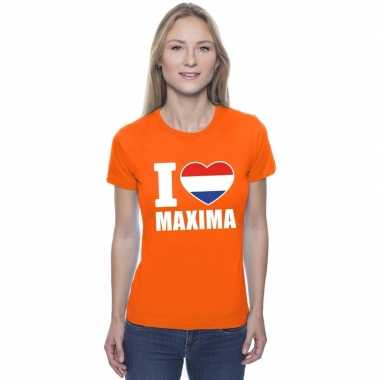 Oranje i love maxima shirt dames