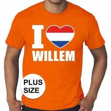 Oranje i love willem grote maten shirt heren