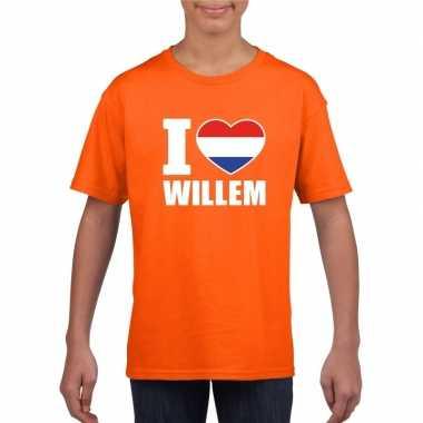 Oranje i love willem shirt kinderen