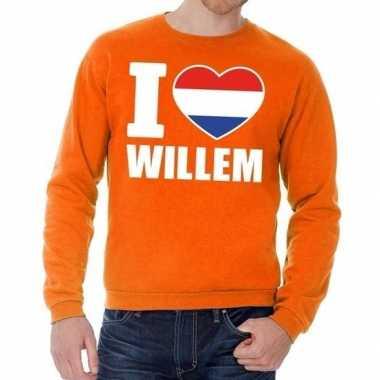Oranje i love willem sweater heren