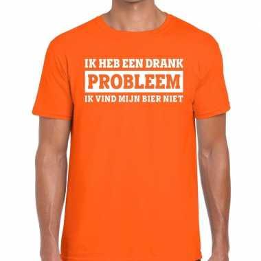 Oranje ik heb een drankprobleem t-shirt voor heren