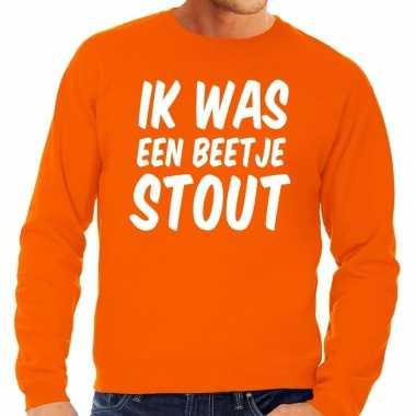 Oranje ik was een beetje stout sweater voor heren