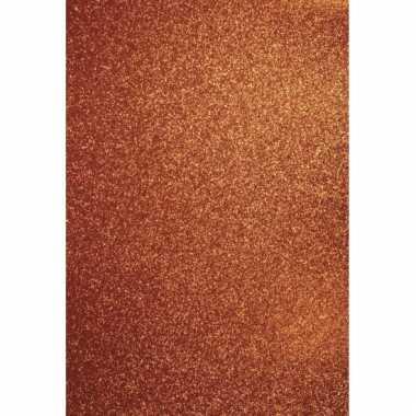 Oranje kartonnen vel met glitter