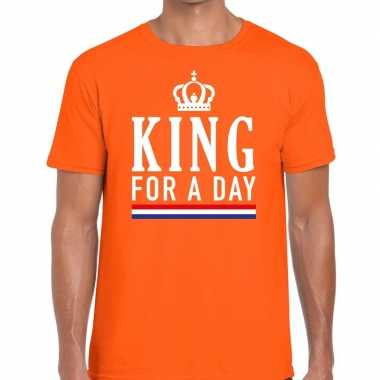 Oranje king for a day t-shirt voor heren